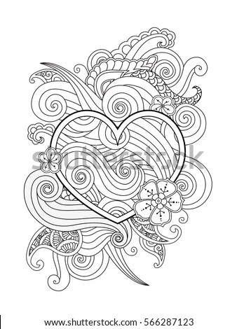 Black White Doodles Hearts Stock Vector 93323146