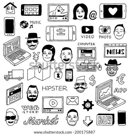 Hipster internet devices doodle set. Vector illustration