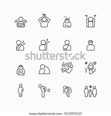 Charity Donation Silhouette Icons Flat Line Stock Vector