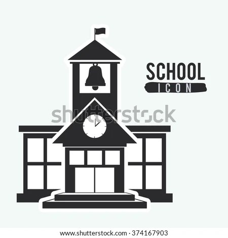 Black White Church Design Layout Steeple Stock