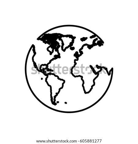 Gray Outline Map World Globe Icons Stock Vector 275067185