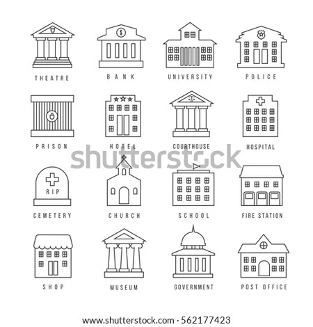 Government Building Icon Set Vector Buildings Stock Vector