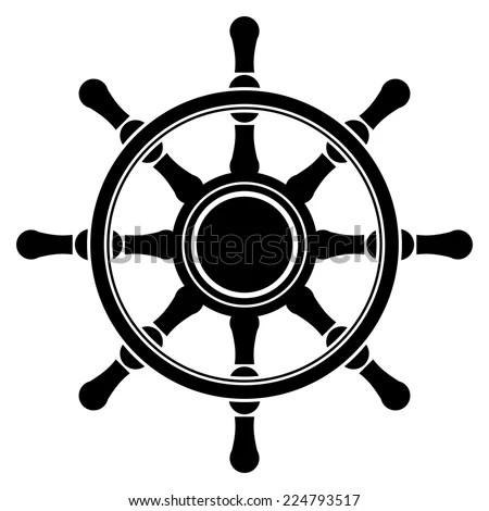 Vector Nautical Boat Steering Wheel Silhouette Stock
