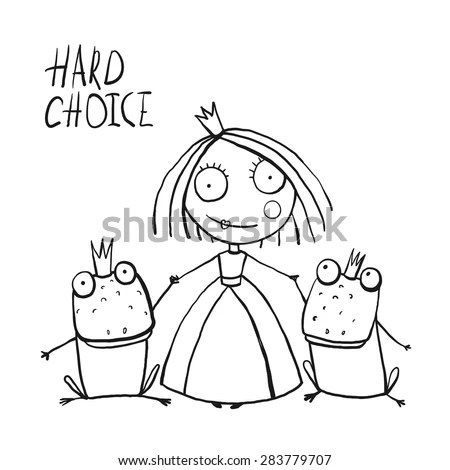 Cinderella Fairytale Characters Symbols Hand Drawn Stock