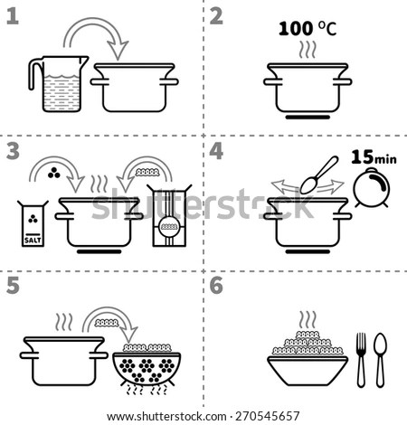 Set Different Icons Boiling Noodles Preparing Stock Vector