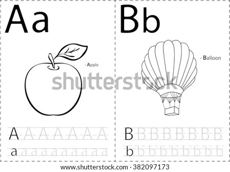 Cartoon Apple Balloon Alphabet Tracing Worksheet Stock