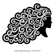 vector silhouette girl curly hair