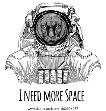 Hand Drawn Monkey Astronaut Vector Stock Vector 482272471