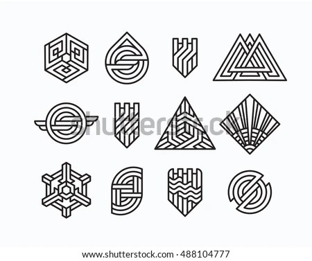 Hipster Style Icons Labels Logo Design Stock Vector