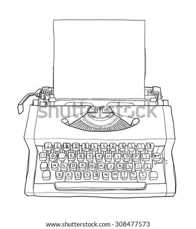 Vector Sketch Retro Typewriter Stock Vector 243180796