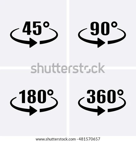 Angle 45360 Degrees Icons Geometry Math Stock Vector