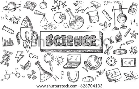 Biology Science Theory Doodle Handwriting Tool Stock