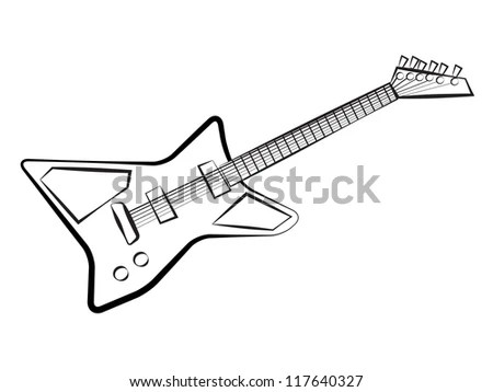 Vector Outline Chainsaw On White Background Stock Vector