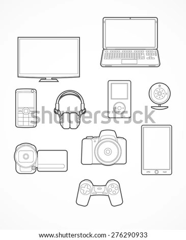 Set Digital Device Icon Contours Vector Stock Vector