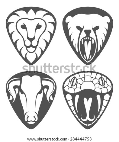 Set Heads Of Wild Animals And Their Victims Stock Vector