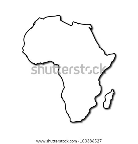 Africa Continent Light Blue Map Shadow Stock Illustration