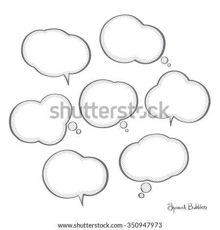 Hand Drawn Speech Bubbles Vector Set Stock Vector