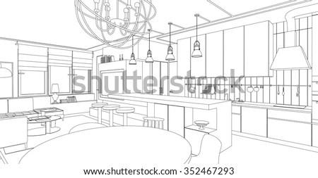 Supermarket Interior Hand Drawn Black White Stock Vector