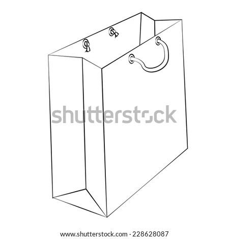Paper Bag Blueprint Layout Stock Vector 301854836
