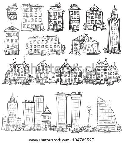 Building Icons Set Line Art Stock Stock Vector 349017635