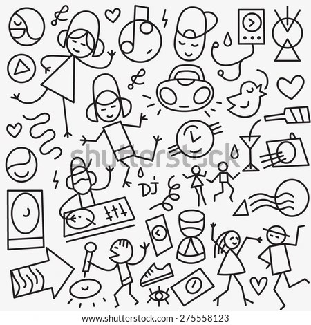 Addiction Doodles Collection Stock Vector 110280281