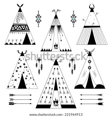 Hand Drawn Set Six Wigwams Ornamental Stock Vector