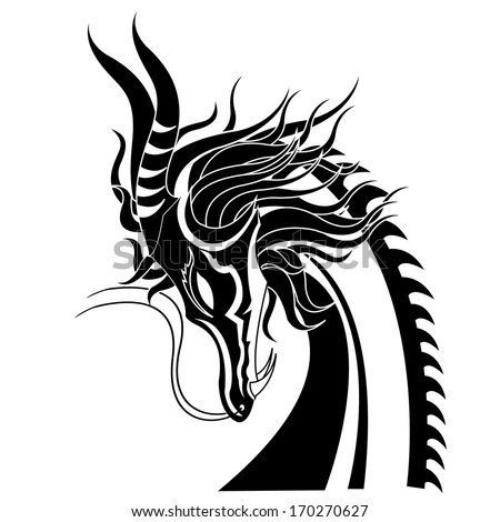 Red Dragon Vector Illustration Tattoo Template Stock