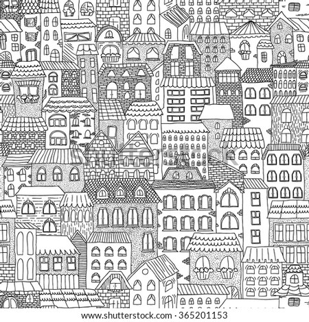 Cute Cartoon Family Wallpaper Color Sketch Panorama City Vintage Cute Stock Vector