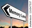 Illustration depicting a roadsign with a memory lane concept. Dusk sky background. - stock photo