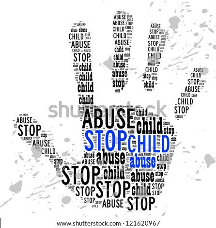 Stop Child Abuse sign words clouds shape isolated in white