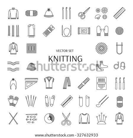 Knitting line icons set. Knitting supplies and accessories