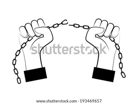 Hand broken chains Stock Photos, Images, & Pictures