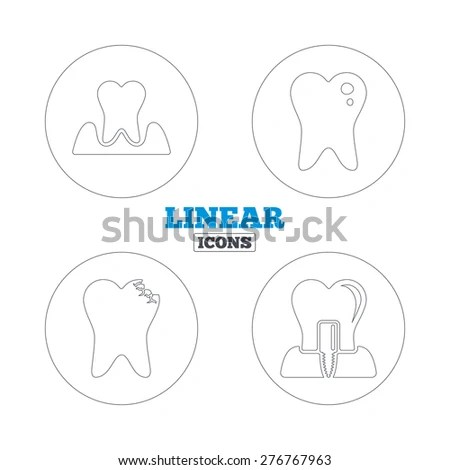 Dental care icons. Caries tooth sign. Tooth endosseous