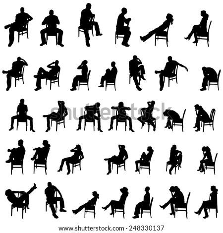 Sitting In Chair Stock Vectors & Vector Clip Art