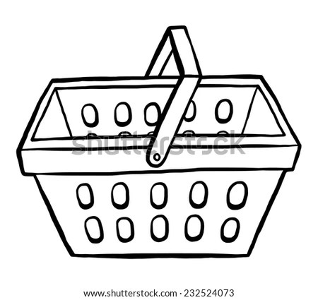shopping basket / cartoon vector and illustration, black
