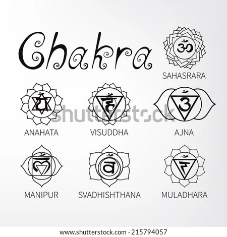 Chakra Symbols Black And White Sketch Coloring Page