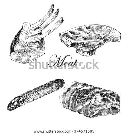Raw T-bone Steak Stock Vectors & Vector Clip Art