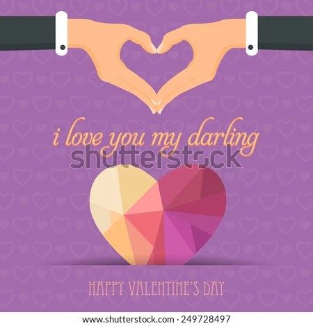 """Download """"i love you my darling""""Message Valentine's Day Flat Vector ..."""