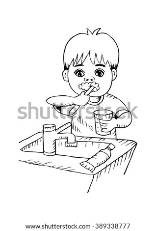 Kids Brushing Teeth Stock Vectors & Vector Clip Art