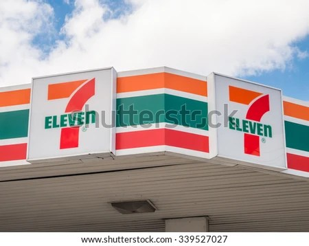 Melbourne, Australia - November 15, 2015: in 2010 7-Eleven purchased Mobil's petrol station business throughout Australia, operating them with its convenience store business. - stock photo