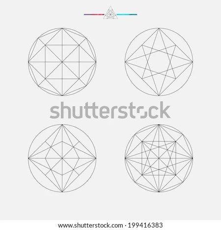 Set of geometric elements, line design, square pattern