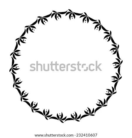 Laurel wreath circle tattoo. Black stylized ornament