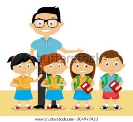 teacher cartoon students vector children pic shutterstock classmate reading background lesson