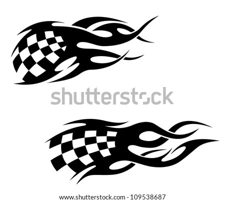 Tattoos with checkered flag in tribal style, such a logo