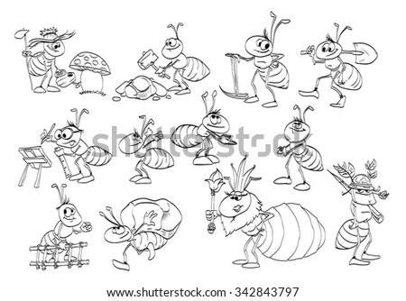 Cartoon Ants In A Line