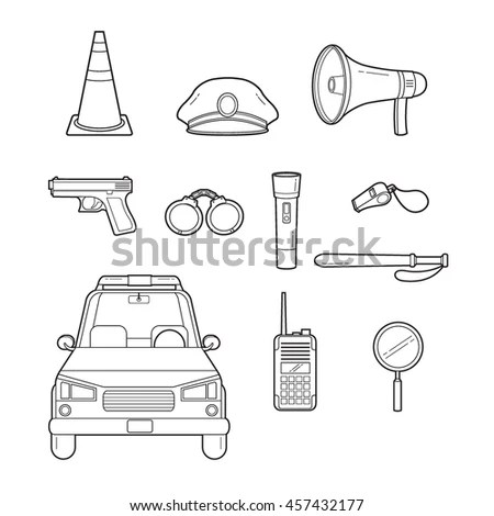 Cartoon Illustration Outline Police Vector 库存照片、图片和图画