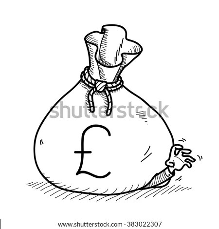 Hand Holding Money Bag Vector Illustration Stock Vector