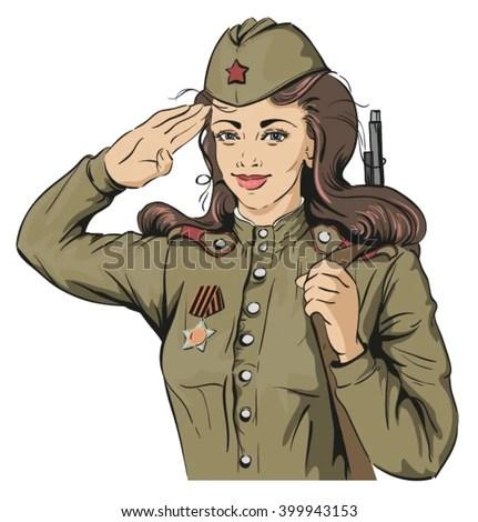 Military Woman Stock Vectors Vector Clip Art Shutterstock