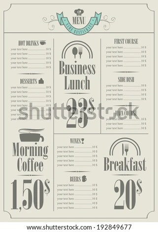 Food Menu Layout Stock Photos, Images, & Pictures