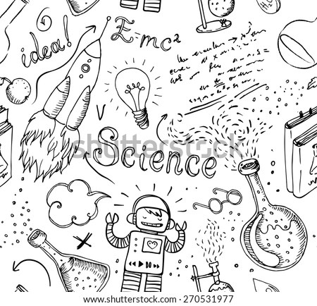 Back to School: science lab objects doodle vintage style